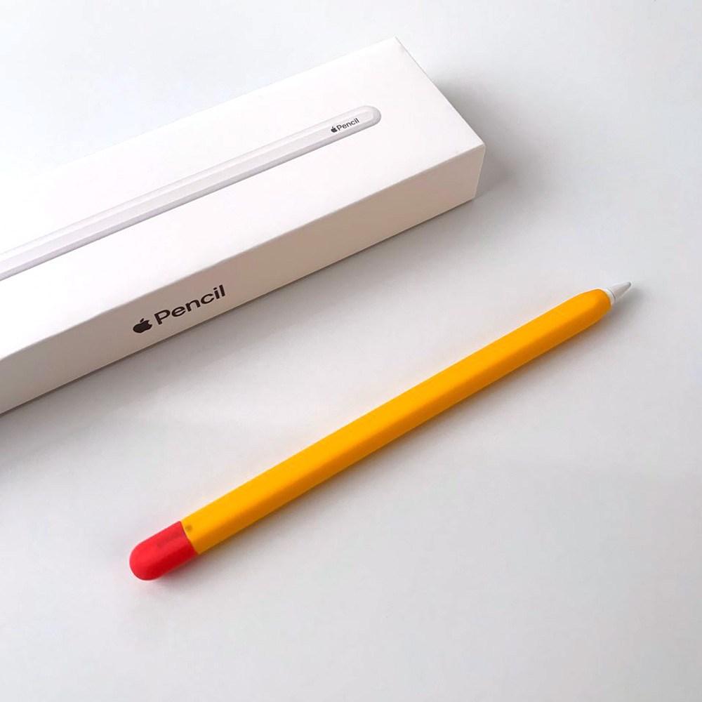 애플펜슬 1세대 무선충전 가능 실리콘 투톤 슬림 케이스, 1개, 애플펜슬 2세대 - 오렌지
