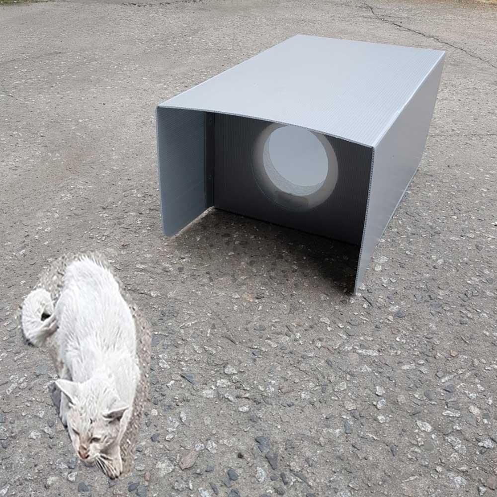 우드플러스 길고양이 겨울집 야외하우스 스치로폼 숨숨집, 처마회색형