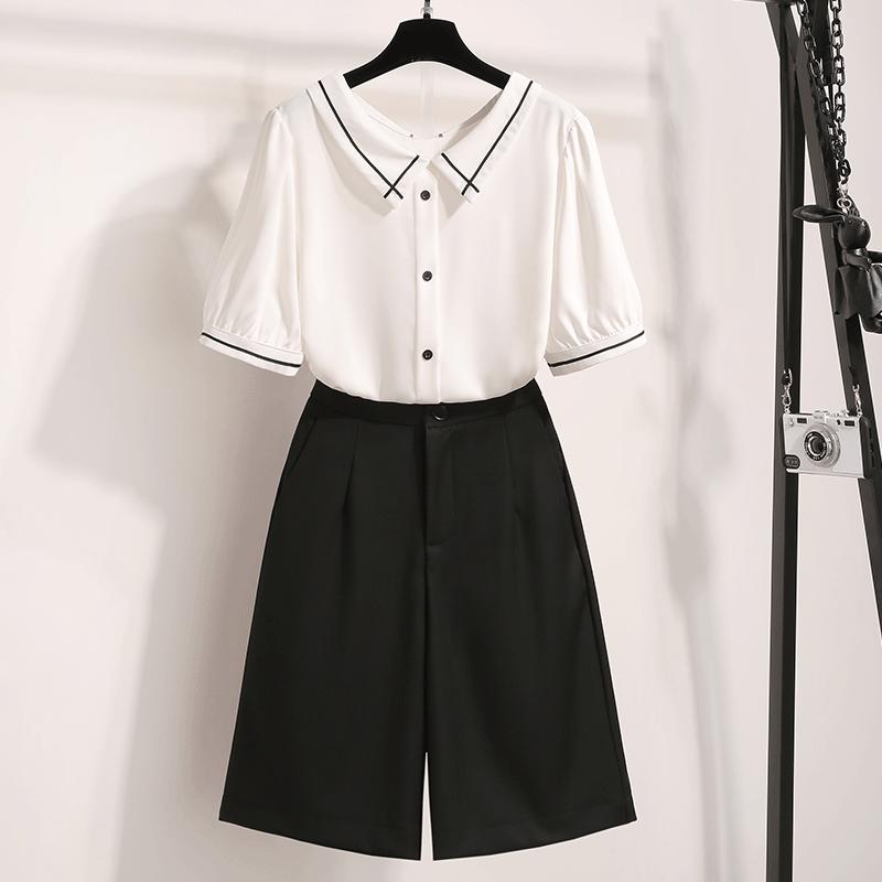 캣츠미 반팔셔츠패션 스타일리시 슬림핏 투수영복 여성 여름옷 산들바람 와이드 반바지
