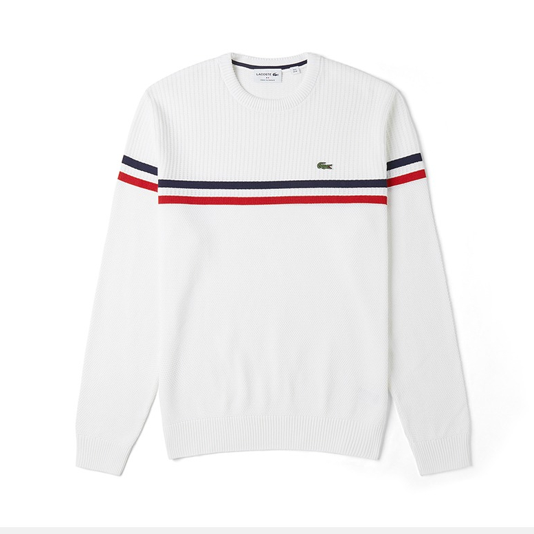 라코스테 LCST 크루넥 삼색 코튼 스웨터