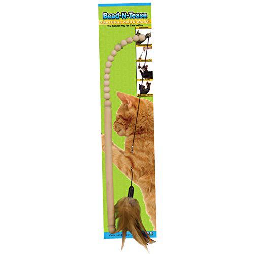 도자기 제조 목재 비드 - N - 티즈 완드 고양이 장난감 Ware Manufacturing Wood Bead-N-Tease Wand Cat Toy, 1set