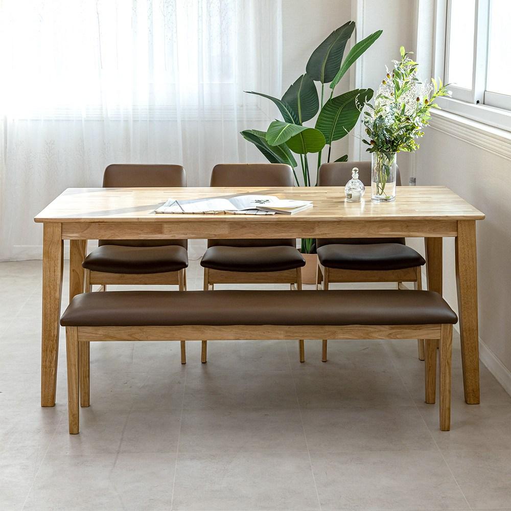 라로퍼니처 루아 원목 6인용 벤치형B 식탁 세트(식탁+의자3+방석벤치1) 식탁세트, 단품