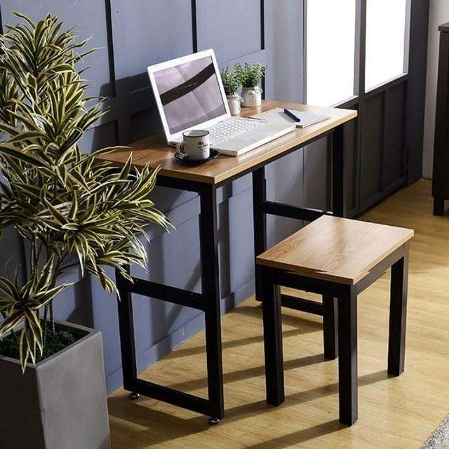 동화나무 조립식 철제 멀바우 일자형 조립 서재 선반 테이블 책상, 02.테이블800(상판:멀바우/다리:화이트)