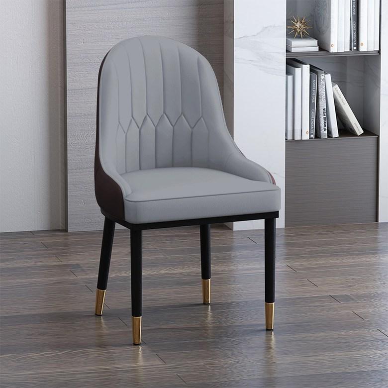 등받이 가죽 의자 인테리어 의자 고정의자 탁자의자 북유럽 고급 의자, 옵션 5 : 회색