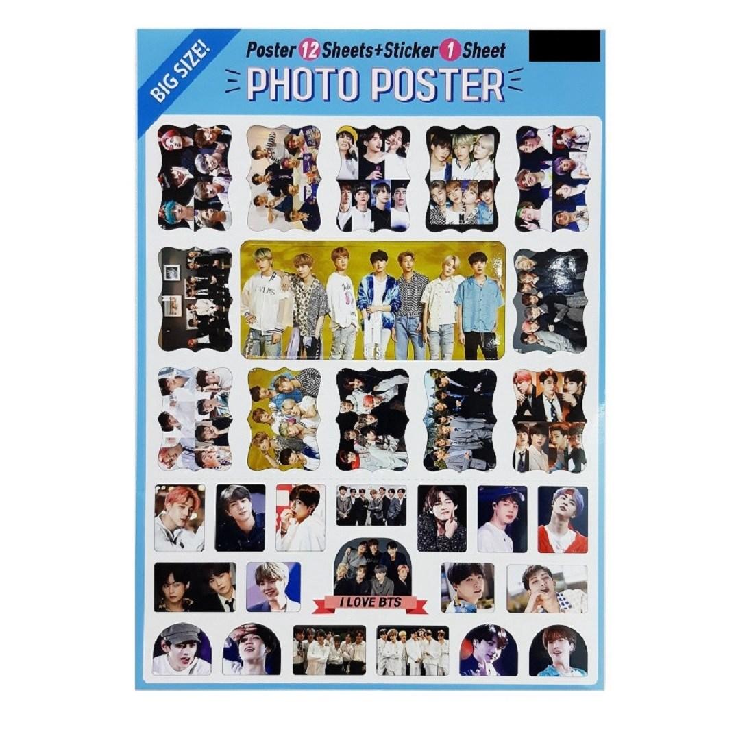 BTS 방탄소년단 빅사이즈 포스터12매+ 31개 스티커(전지1장)