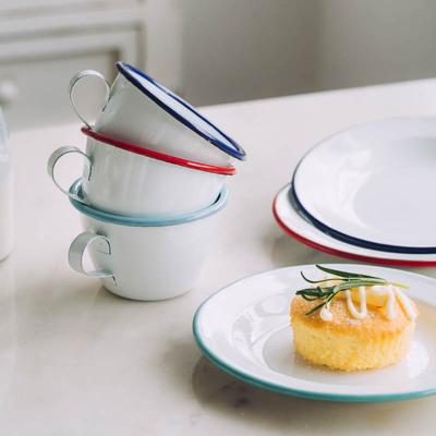 에나멜 레트로 감성 물 차 커피 옛날 흰 법랑 컵, 파랑테두리