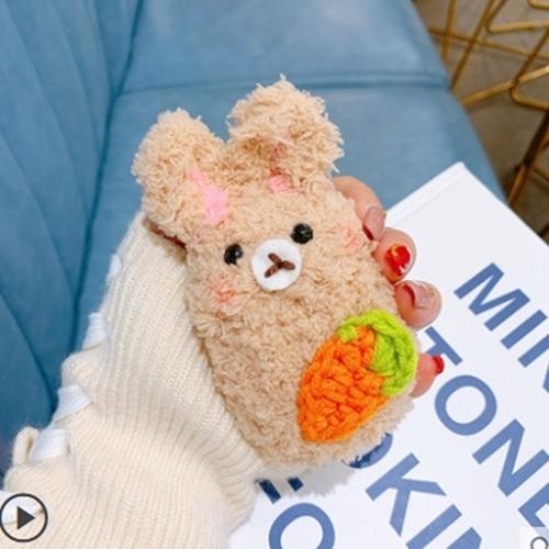 [엔피니원] 털 손 뜨개질 토끼 인형 에어팟프로 케이스, 3. 베이지 당근 토끼 에어팟1-2세대