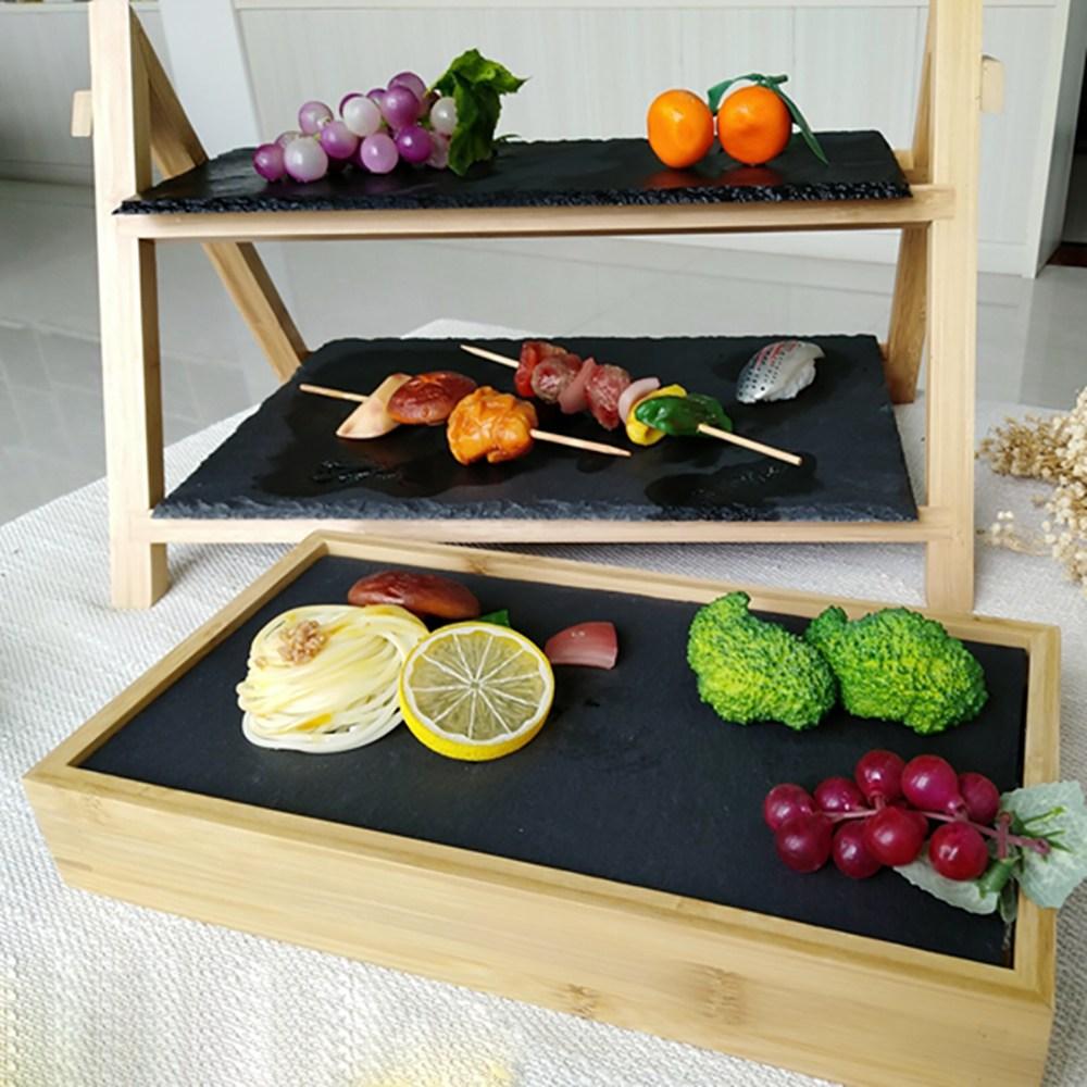 일식집 혼술 오마카세 회포장 포장초밥 월남쌈 카나페 우드 계단식 접시 트레이, 2단+1단