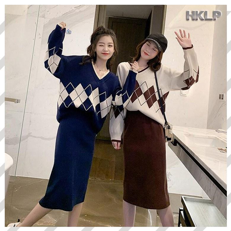 HKLP 니트 투피스세트 여성 티셔츠 스커트 투피스 A78