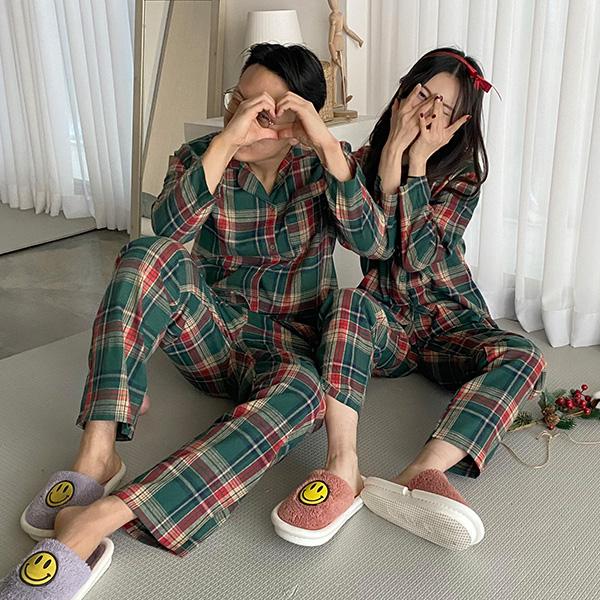 [크리스마스!커플잠옷] 루돌프 크리스마스 체크 파자마 잠옷 set