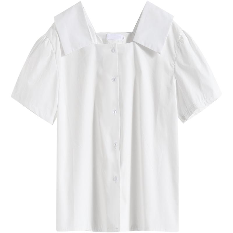 라우렌 퍼프소매 KAKD 디자인 감각 보이핏 볼륨 스퀘어넥 프렌치시크 상의반팔 이너티셔츠 여름 얇은