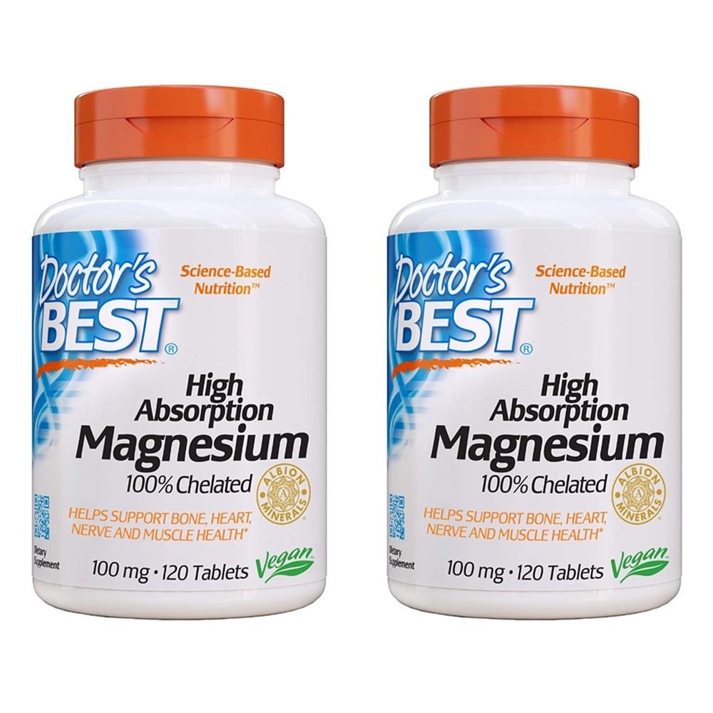 Doctors Best High Absorption Magnesium Bioperine 닥터스 베스트 하이 앱솔션 마그네슘 100mg 120정 2통