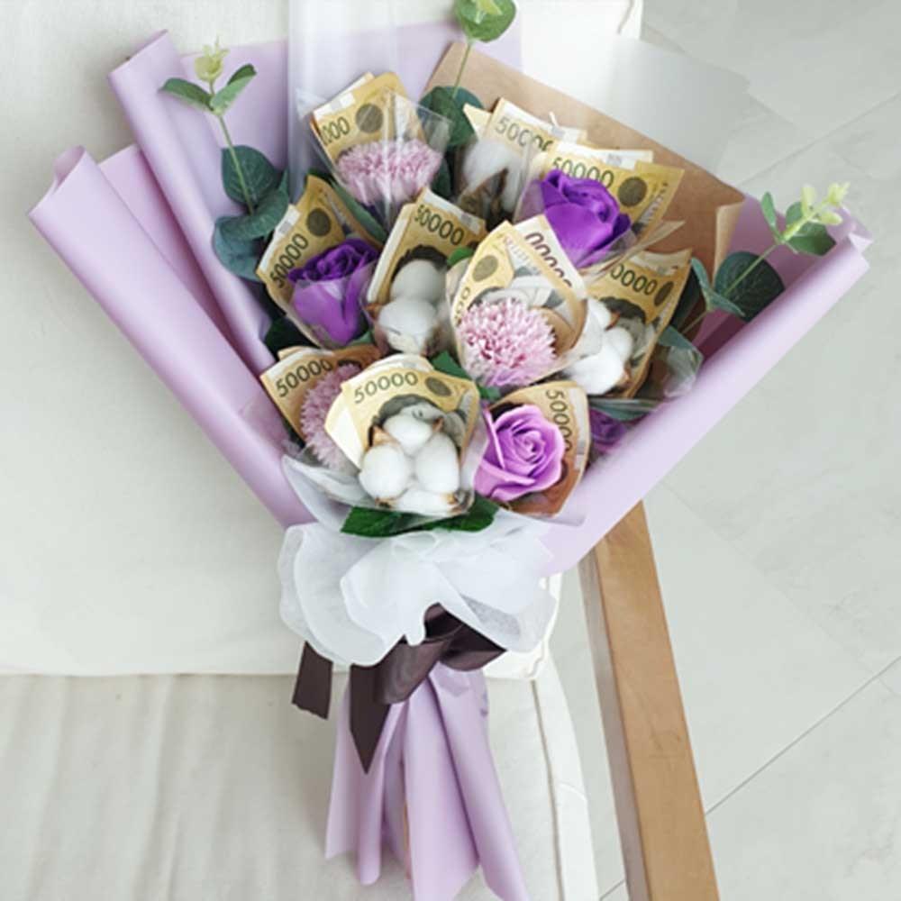 러블리팜 돈꽃다발 코튼믹스 10, 퍼플