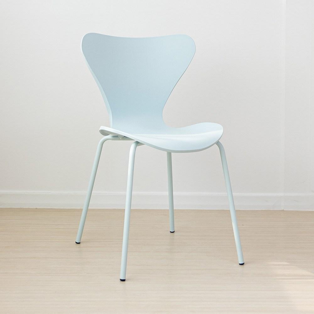 라로퍼니처 웨이브 체어 북유럽스타일 철제 카페 인테리어 의자 인테리어의자, 블루