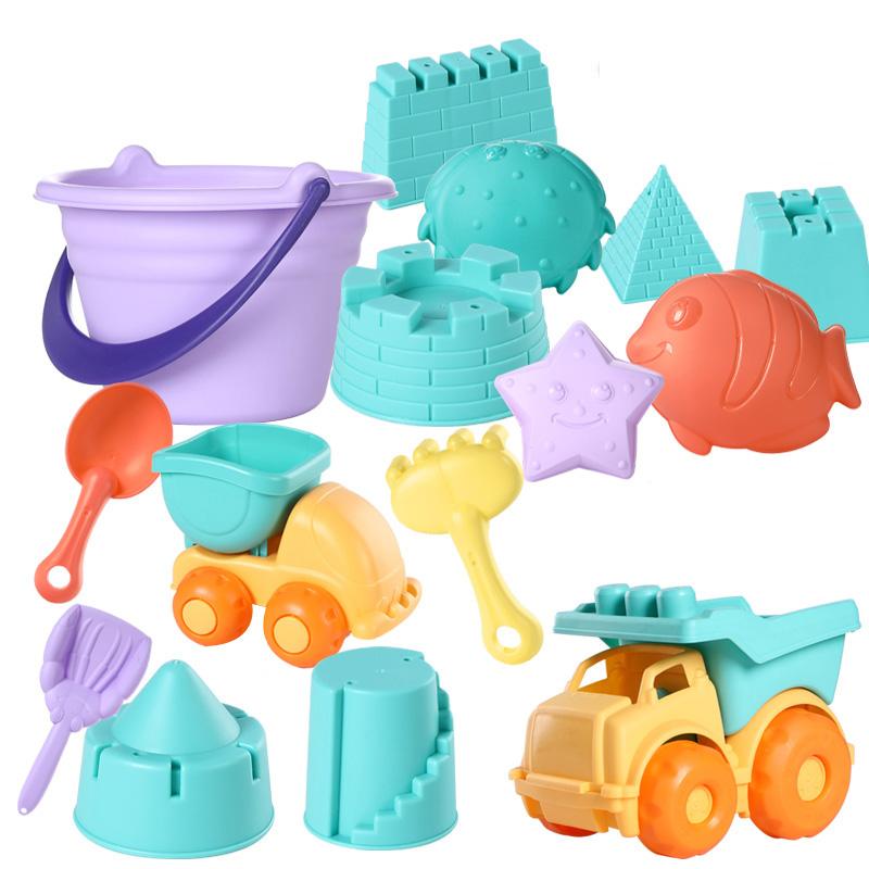 [해외 직송]DALIN 모래놀이 어린이 비치 완구 세트 아기 목욕물 놀이 모래 캐기 도구 삽질 남자 여자아이 수영 장난감 XT02 A23, 1개, 08 컬러 랜덤 14피스