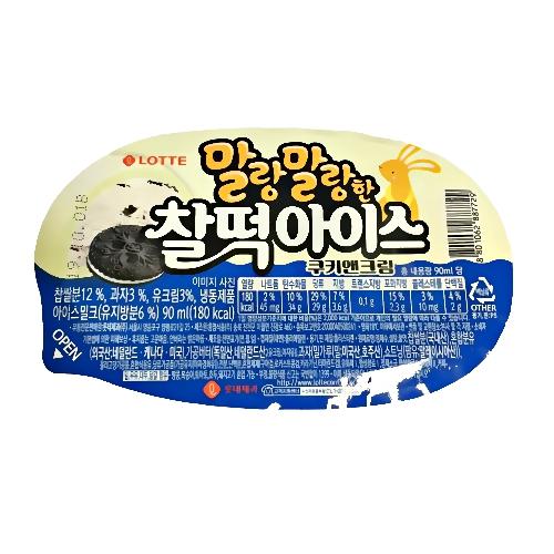 롯데제과 찰떡아이스 쿠키앤크림 24개 (1박스) 아이스크림, 1박스, 90ml