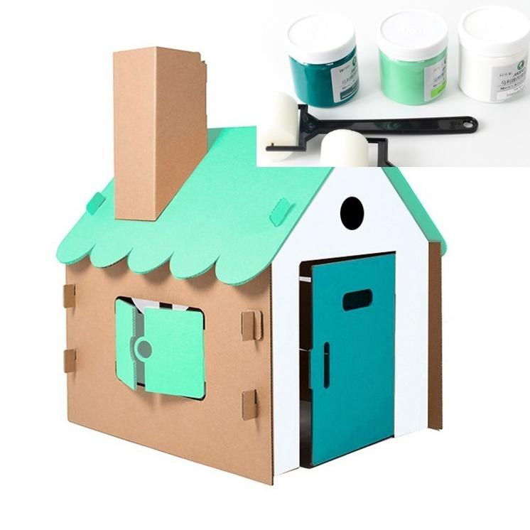 색칠하는 대형 유아 종이집 이글루 페이퍼하우스 전용 페인트&롤러 놀이집, 3종셋트