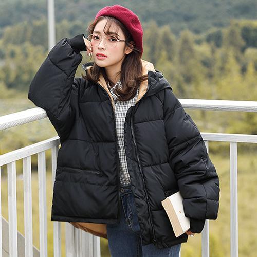 타니즈 뮤즈 여성 배색 숏 퀼팅 패딩