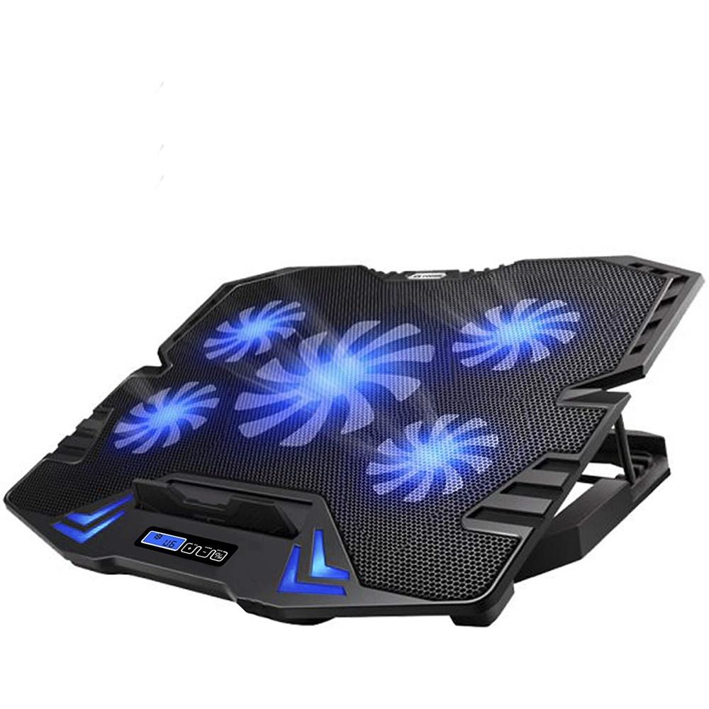 쿨링 받침대 TopMate C5 10-15.6 인치 게임용 노트북 쿨러 냉각 패드 5 개의 조용한 팬 및 LCD 화면 5 개의 높이 조절 2 개의 USB 포트