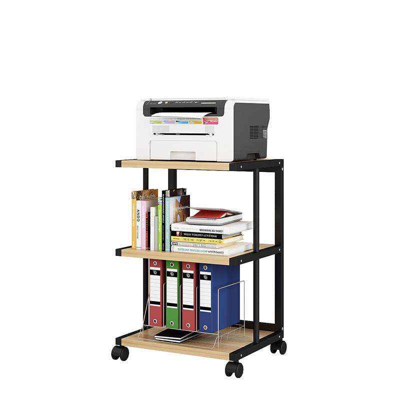 프린트거치대 프린터선반 인쇄기 캐비닛 스탠드형 이동식 사무실 수납 선반 손수레 접지력 슬라이딩 선반 바퀴조립 물건 다층 컴퓨터책상 본체 수납 프린트, E3 오크 + 블랙프레임