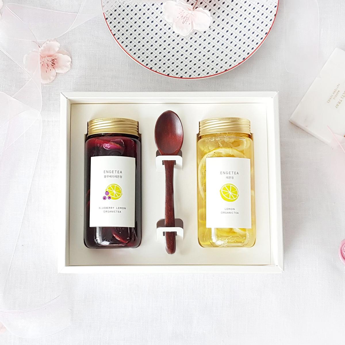 엔게티 수제청 선물세트 (레몬청 x 블루베리레몬청) 수제 과일청, 1set, 300ml