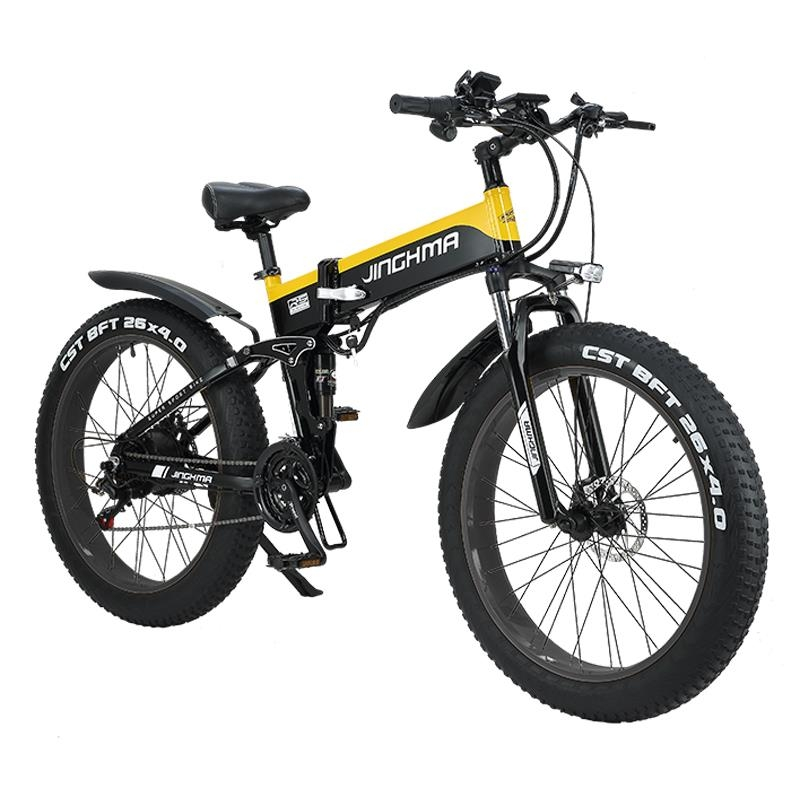 전기자전거 26 인치 접이식 지방 타이어 오토바이 48V 리튬 배터리 오프로드 가변 속도 스노우 비치 산악 접이식 전기자전거, 수출 버전 검정색과 노란색 기사 LG12.8A 배 (POP 5567135372)