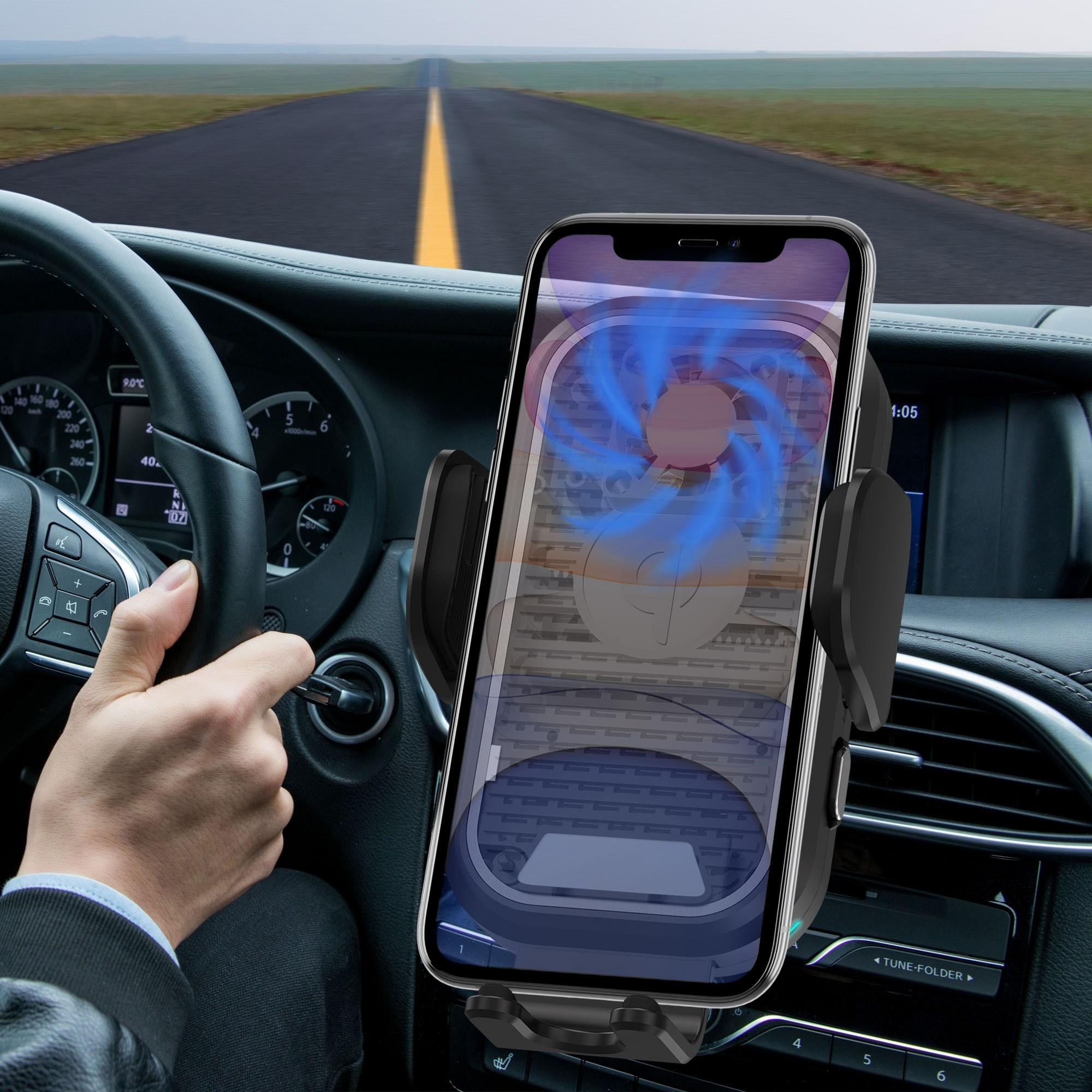 TS 차량용 고속무선충전거치대 15W 핸드폰 열 배출 저소음 블랙 오토슬라이딩 FOD센서 전차종 대쉬보드 송풍구 논슬립, 1개 블랙