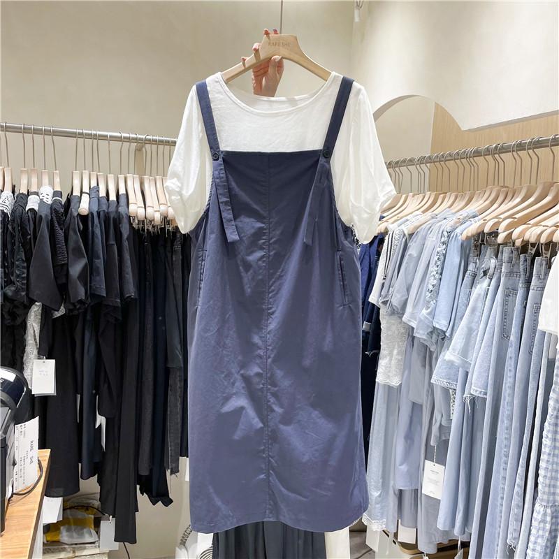 캣츠미 여름티셔츠패션 A스타일리시 캐주얼 룩 여성 심플 어깨끈 조절 가능 허리보정 멜빵치마 투수영복