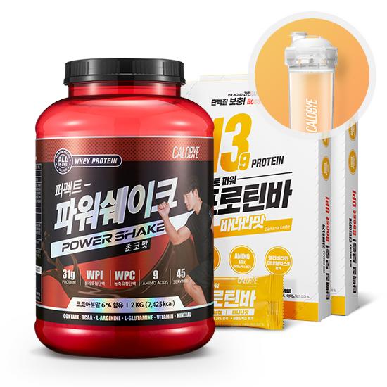 칼로바이 퍼펙트파워쉐이크 유청단백질 헬스보충제 2kg+프로틴바 바나나맛 2box+쉐이커증정, 1개, 2000g