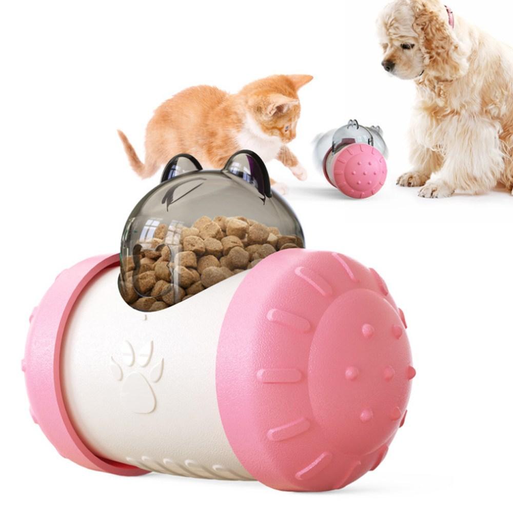 강아지 장난감 노즈워크 고양이 간식볼 펫 간식통 애견 분리불안 스트레스 해소, 핑크