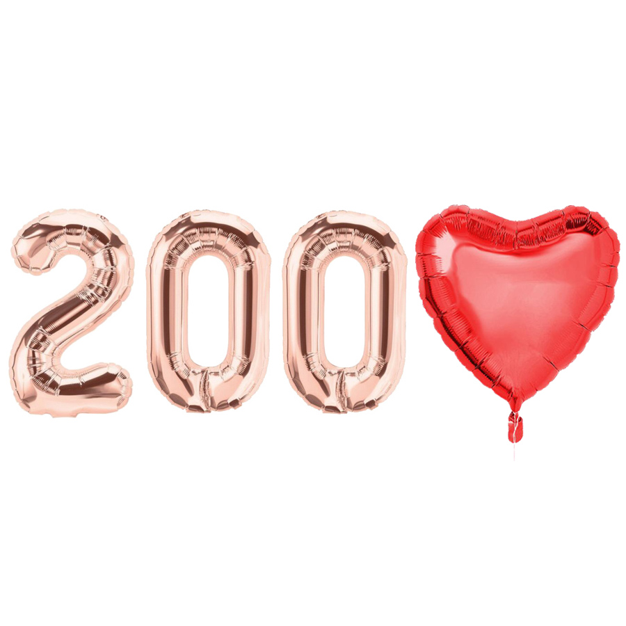 고백하는날 은박 숫자 이니셜 백일상 100일 기념일 하트 풍선세트, 1세트, 로즈골드200일♥