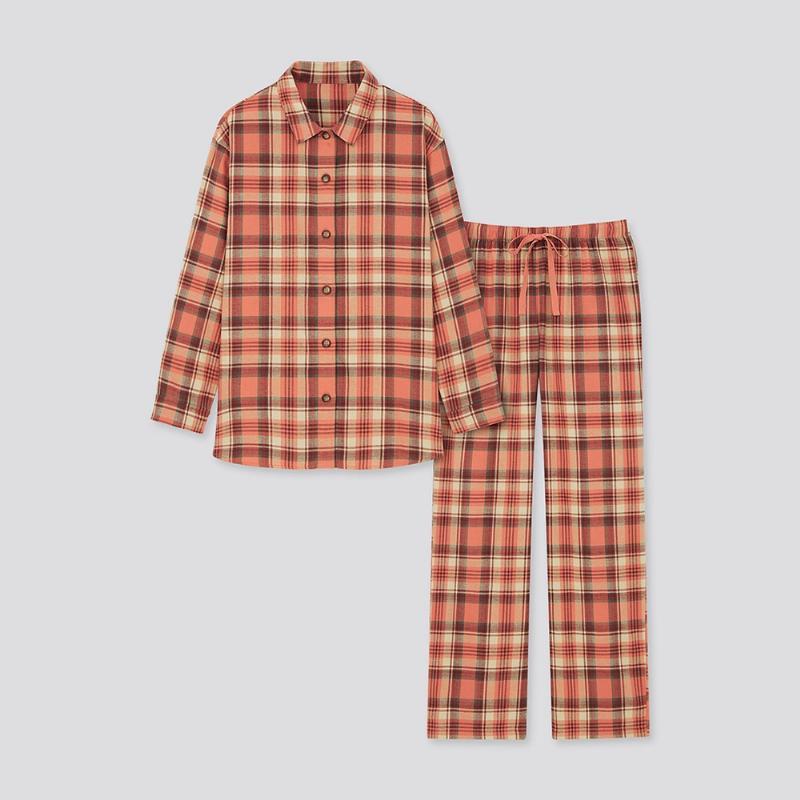 빅사이즈커플잠옷 유니클로 여성 네루 파자마 긴 소매 체크 430751 UNIQLO