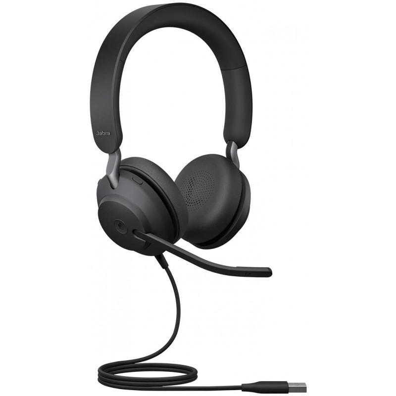 독일직수입 Jabra Evolve2 40 헤드셋 - 마이크로 소프트 팀 인증 스테레오 헤드 헬더 3 마이크 - USB-A 케이블 - 블랙, 단일옵션, 단일옵션
