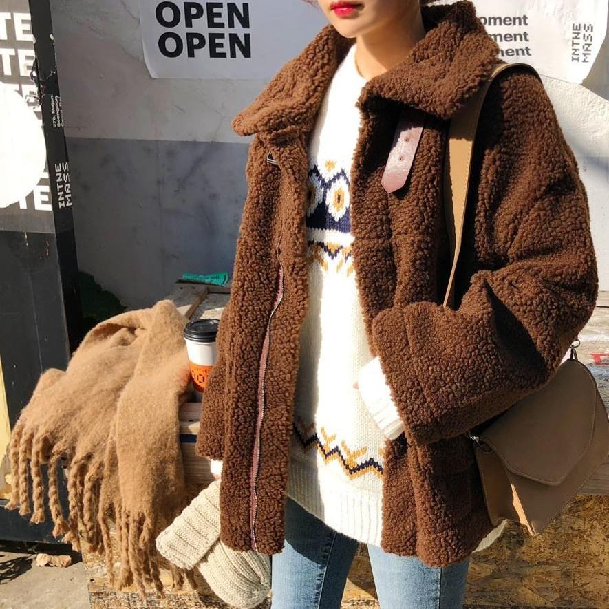 온더리버 덤블 뽀글이 양털 무스탕 자켓