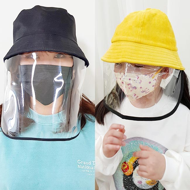 방역모자 앞가림 투명 가리개 비닐 안면보호 벙거지 모자