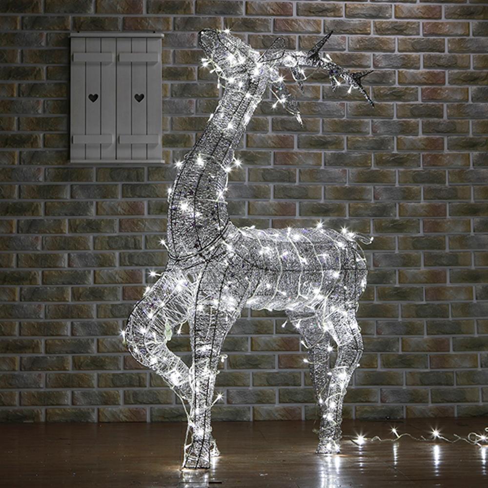 특대형LED실버펄 성탄절 야외조형물 사슴 오너먼트 파티 아파트 레스토랑