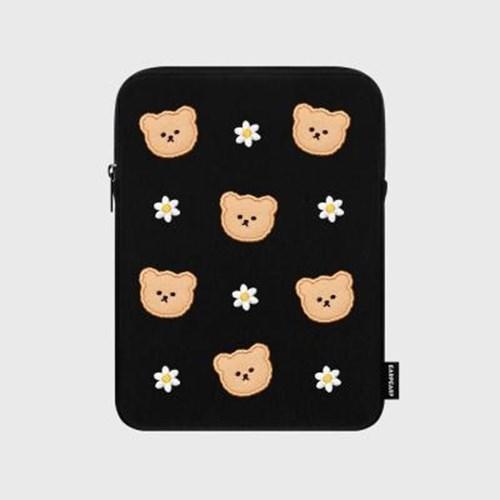 아트박스/어프어프 Dot flower bear-black-ipad pouch(아이패드 파우치)