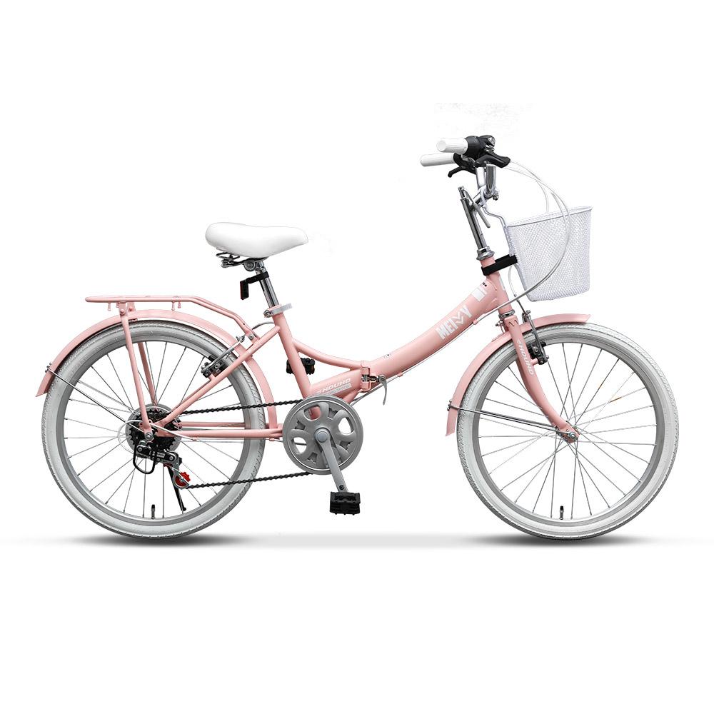 삼천리 메이비 핑크 자전거 미니벨로 22인치 접이식 접이형 바구니 미니 생활 접이식자전거