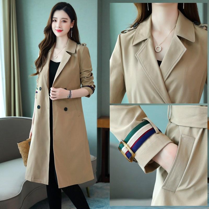 하프트렌치코트 여성 어텀 무드 가을옷 긴 소매 더블 단추 슬림 슬림핏 끈 롱 코트