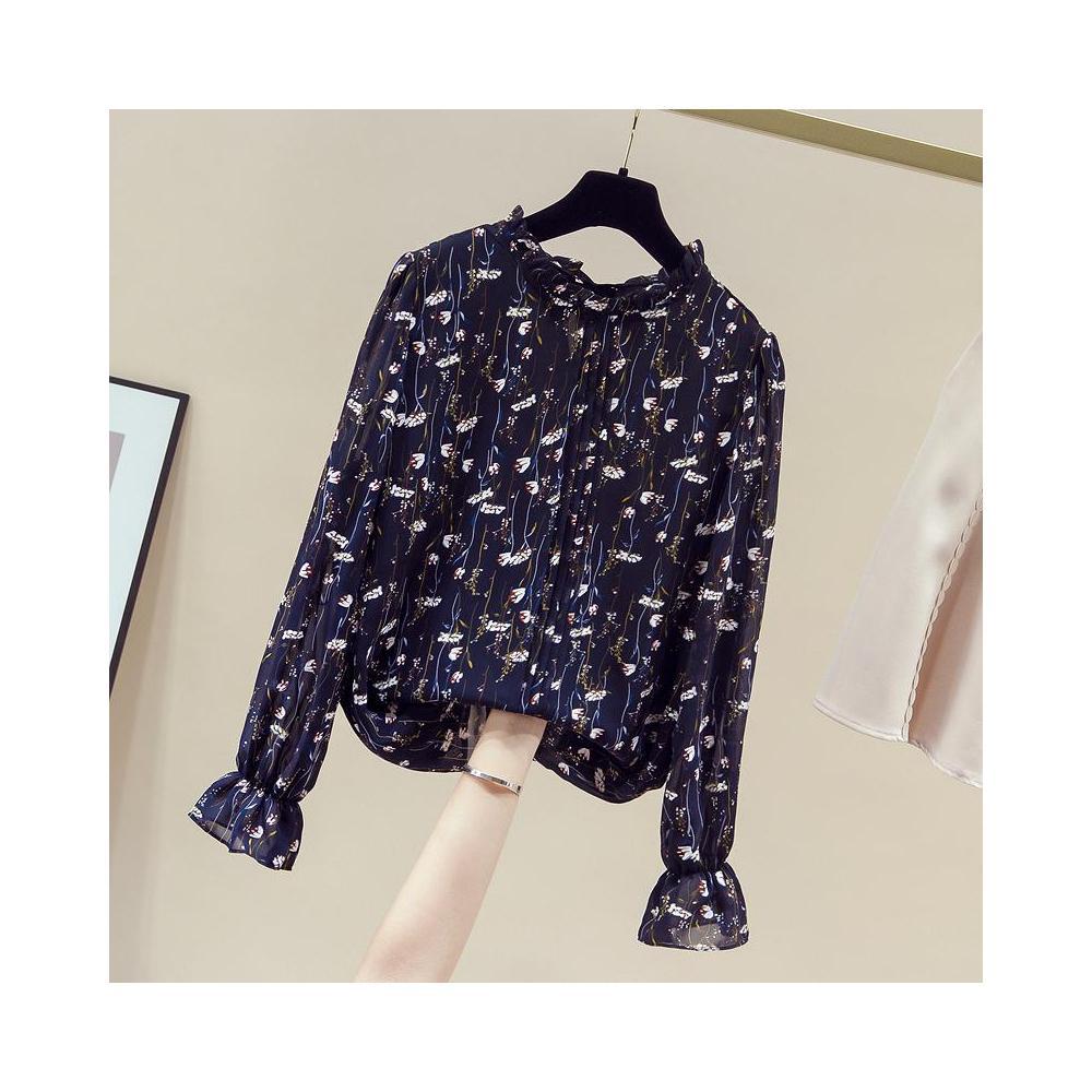 알지구 썸머 블라우스 실제 촬영 가을 새로운 꽃 무늬 쉬폰 셔츠 긴 소매 서양식 작은 기질 패션 바닥