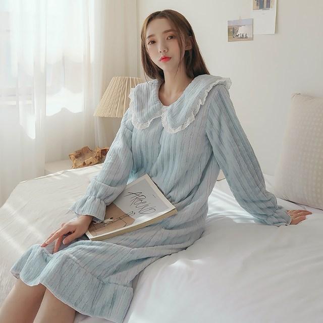 구름극세사 왕카라 레이스 원피스수면잠옷