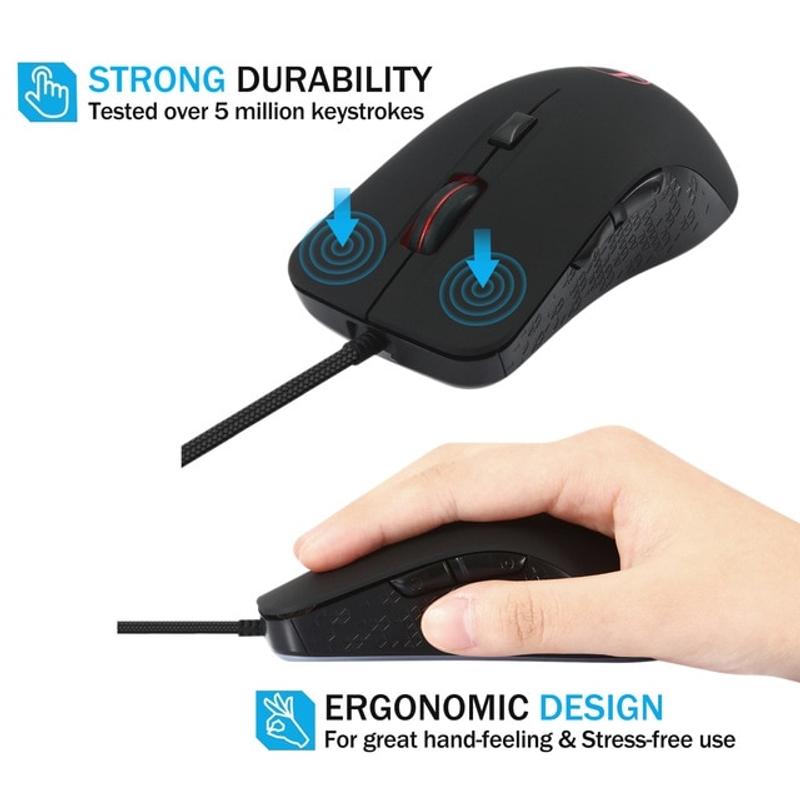 젤리 빗 유선 따뜻한 온열 마우스 노트북 노트북 프로그래밍 가능 6 버튼 게이머 용 게이밍 마우스 2400 DPI 조정 가능한 마우스, 검정