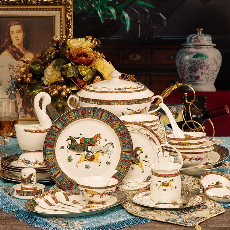 에르메스 고급 도자기 가정용 그릇 식기세트 선물, 60 고급 식기 세트