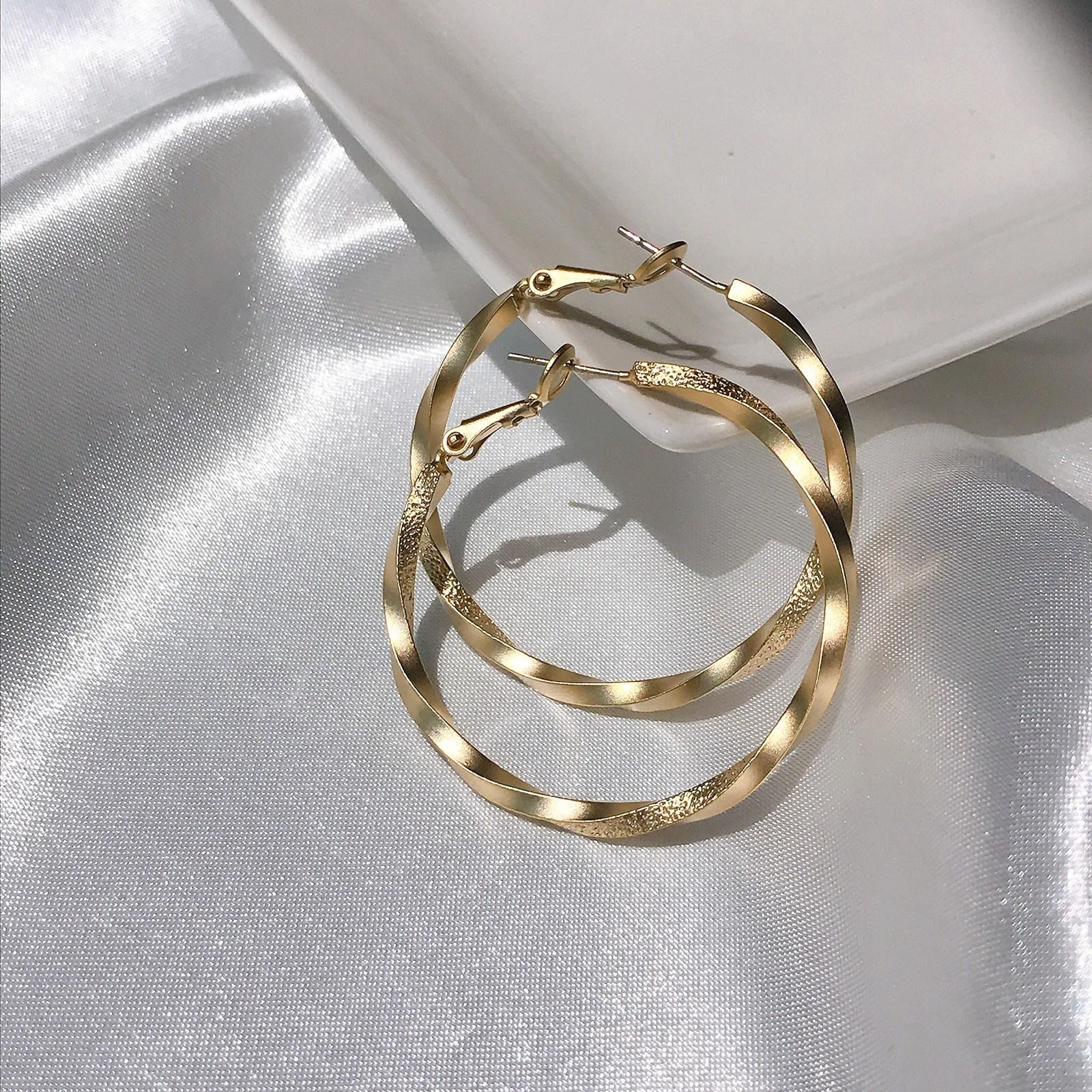 뿌앙 실버 925 은침 3cm 4cm 무광 꼬임 원터치 미니 링 귀걸이