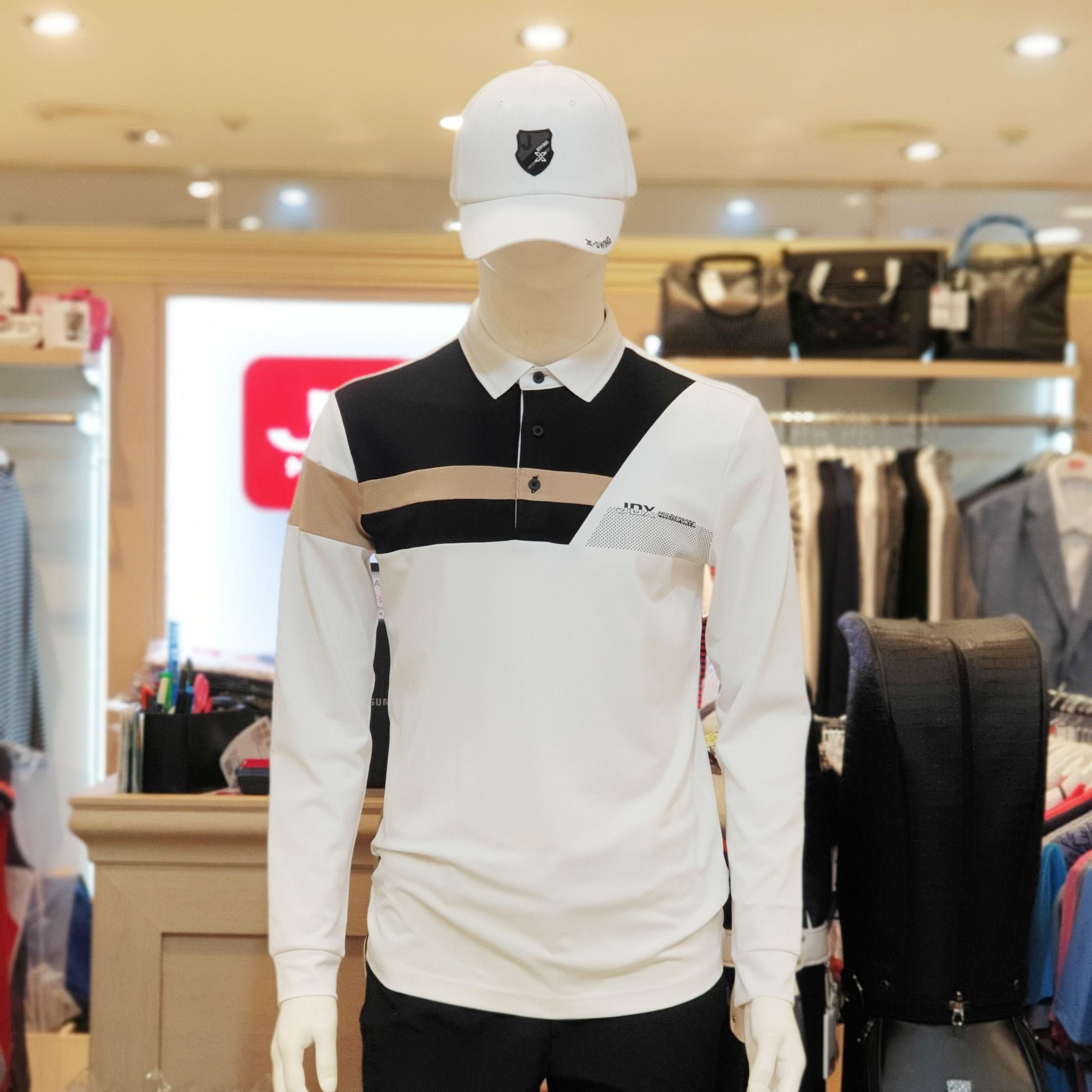 JDX 남성 앞 상단 사선절개 피케이 티셔츠, RE