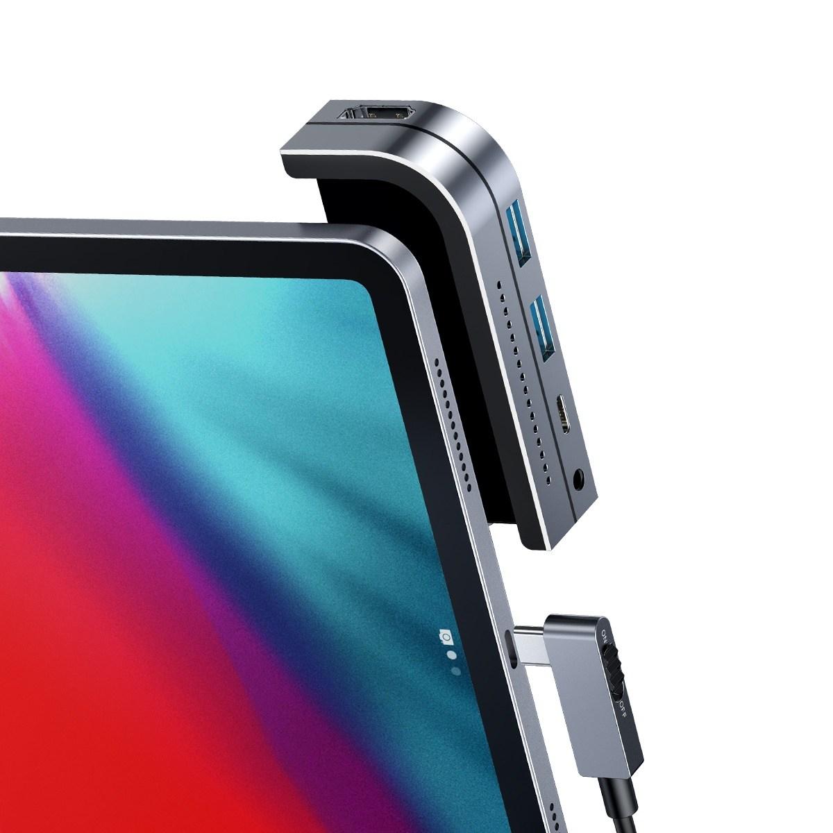 베이스어스 업그레이드 아이패드프로 3세대 4세대 허브 BASEUS C타입 4K HDMI, 그레이