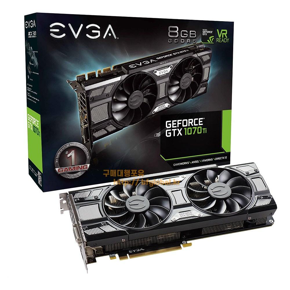 EVGA GeForce GT 1070 Ti SC Black Edition 8GB GDDR5 그래픽카드, 08G-P4-5671-KR