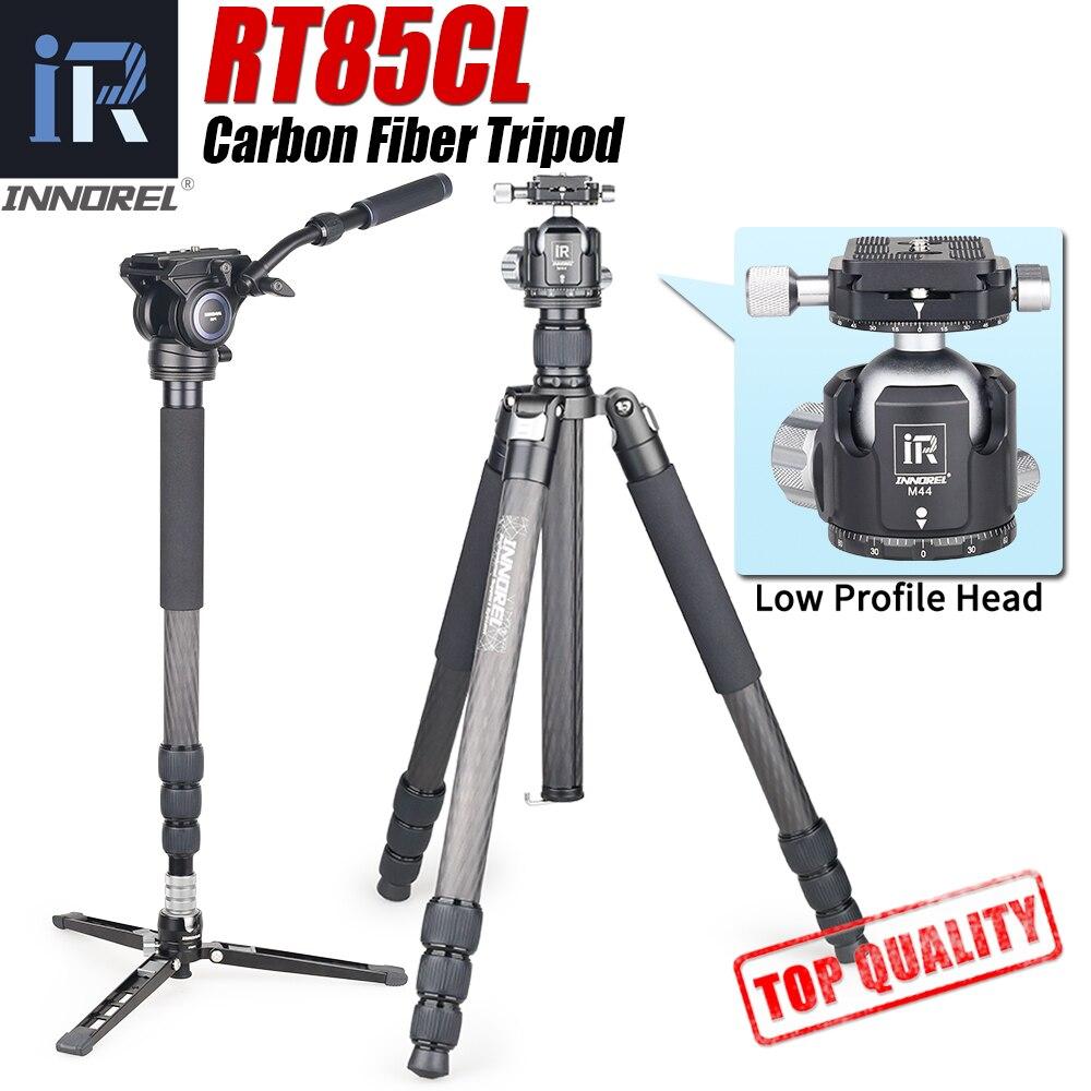 RT85CL 10 레이어 탄소 섬유 전문 삼각대 모노 포드 DSLR 카메라 더블 파노라마 낮은 중력 볼 헤드 비디오 헤드|라이브 삼각대|, 1개, 러시아, RT85CL add M44