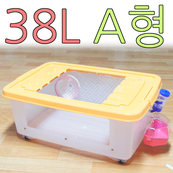 아디펫샵 햄스터 리빙박스 38L A~C형 펫존 스마트 케이지 하우스 용품, 38L A형(뚜껑색상랜덤), 1개