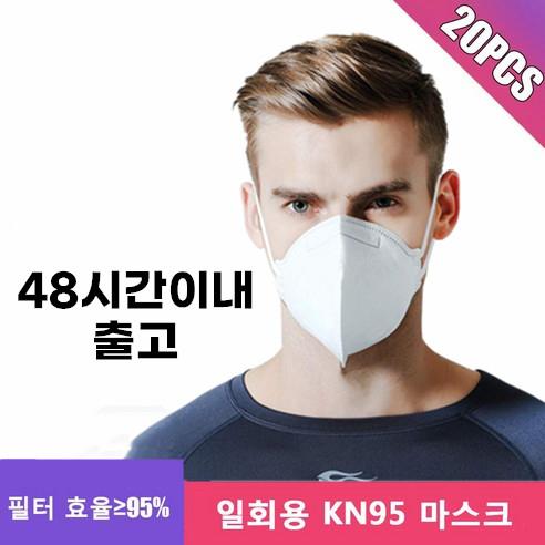 KN95 헤드 마운트 마스크 필터 효과 95 % 성인용, 20개, 1팩